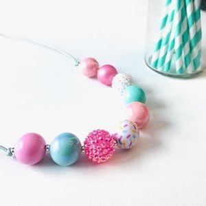 Jewelry - 'Sprinkled' Adjustable Bubblegum Bead Necklace